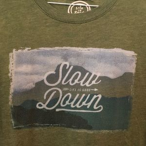 Life is Good Olive Green Mountain Tee